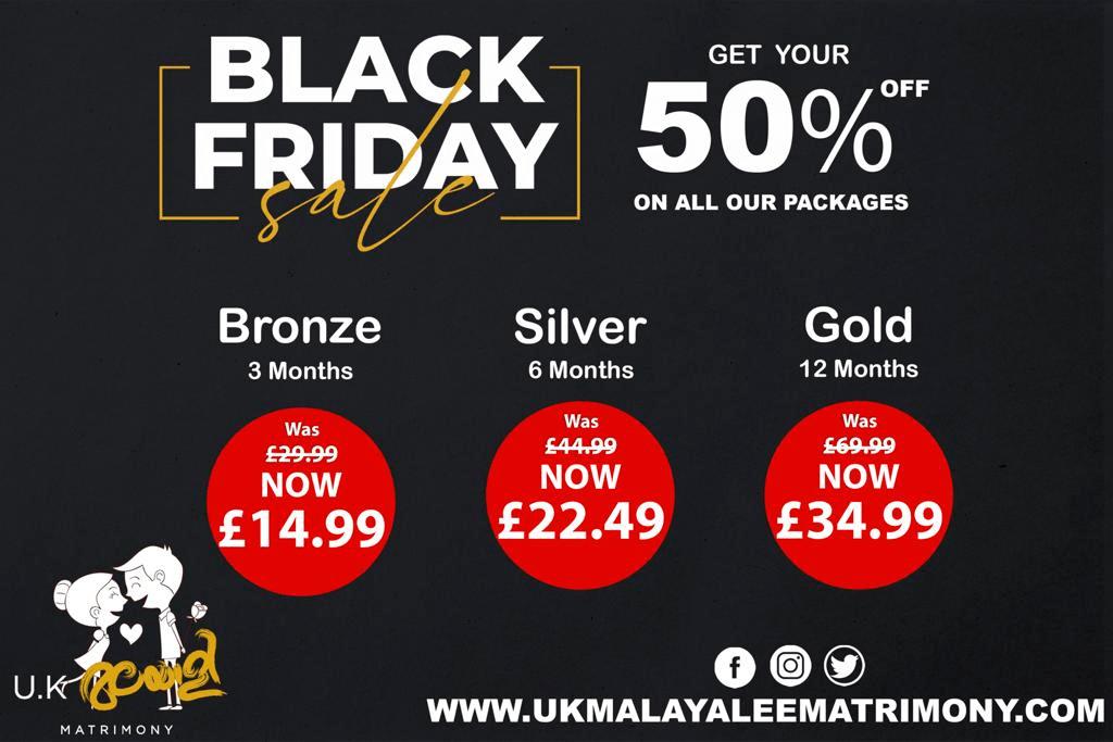 Black Friday Sale at UK Malayalee Matrimony