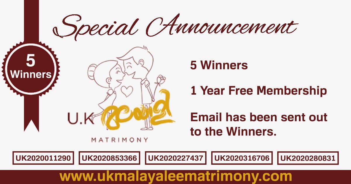 Gold membership winners at UK Malayalee Matrimony